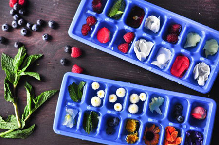 تزیین یخ با سبزیجات,تزیین یخ با میوه های تابستانی