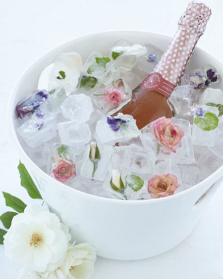تزیین یخ با گل های تابستانی, مدل های تزیین یخ