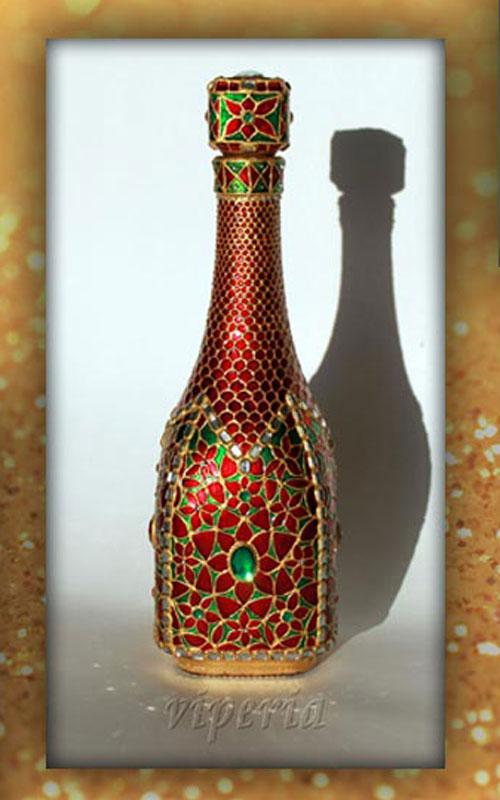ویترای روی ورق طلا,تزیین بطری شیشه ای