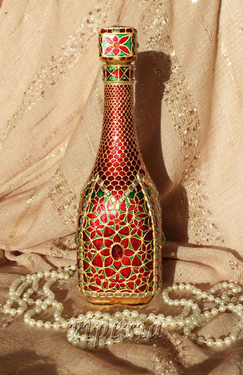 آموزش ویترای  , تزیین بطری با ویترای روی ورق طلا