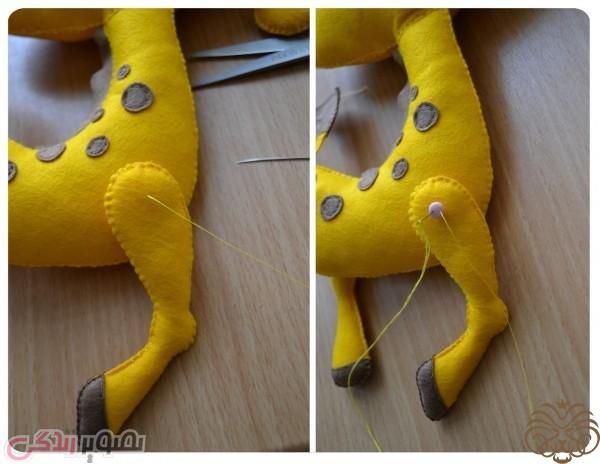 ساخت عروسک زرافه, دوخت عروسک نمدی, زرافه نمدی