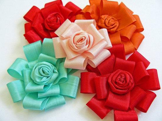 آموزش هنرهای دستی  , آموزش ساخت گل روبانی تزیینی ساده و زیبا