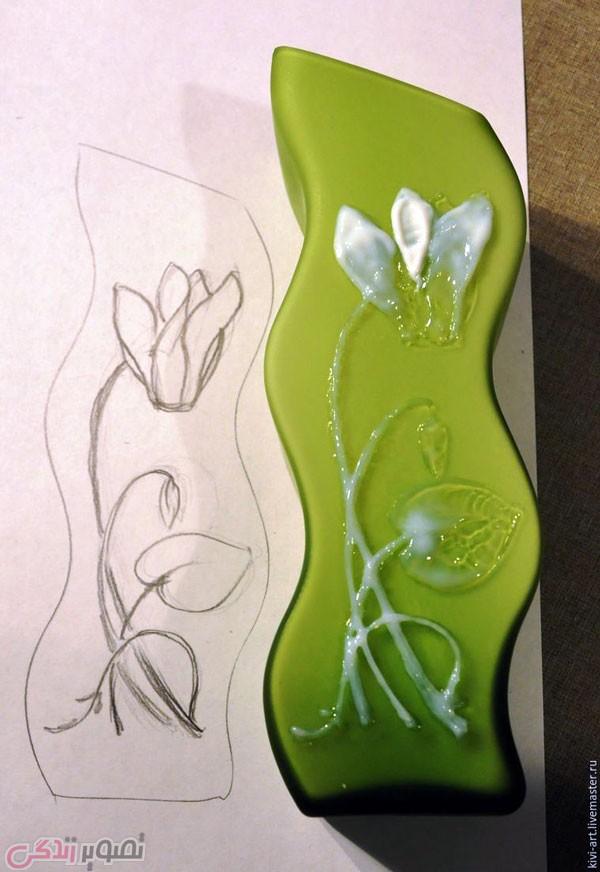 آموزش نقاشی برجسته , تزیین گلدان شیشه ای