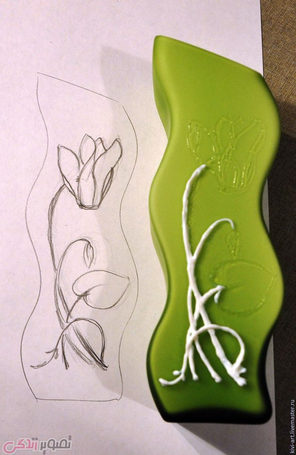 آموزش ویترای  , آموزش نقاشی برجسته روی گلدان بلور