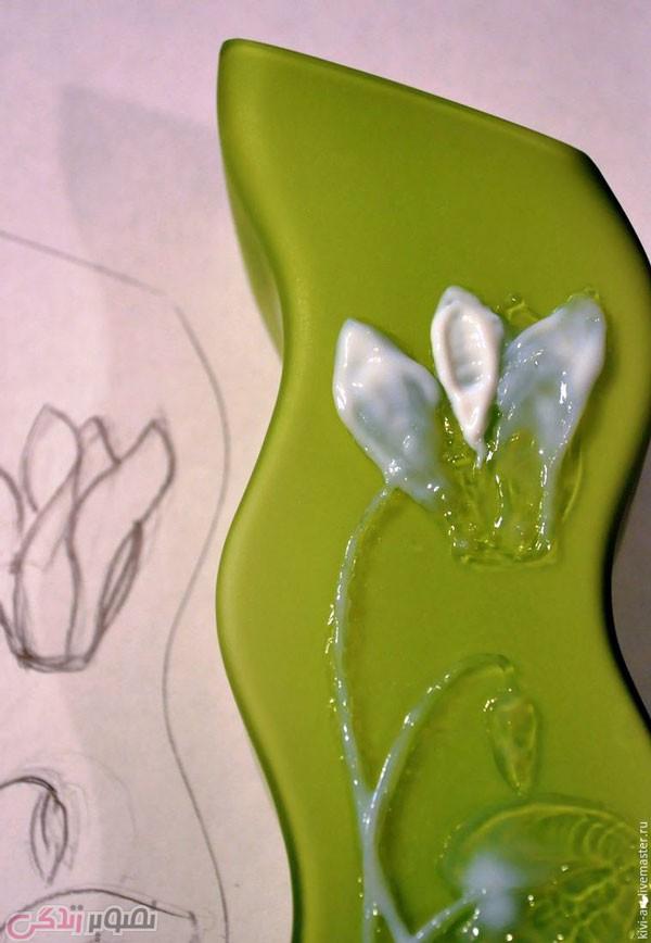 آموزش نقاشی برجسته , تزیین گلدان بلور