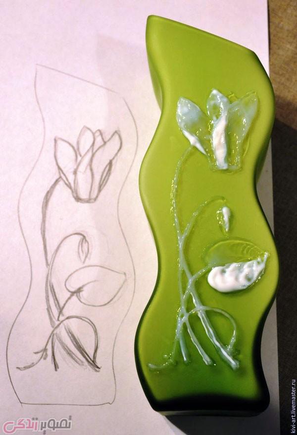 آموزش نقاشی برجسته روی گلدان بلور