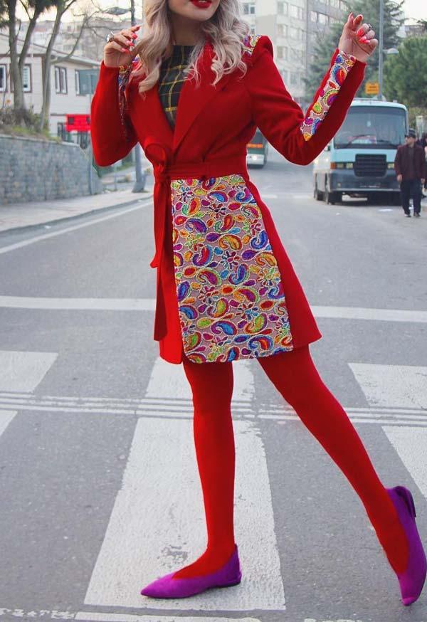مانتو قرمز دخترانه جر کار گل دار