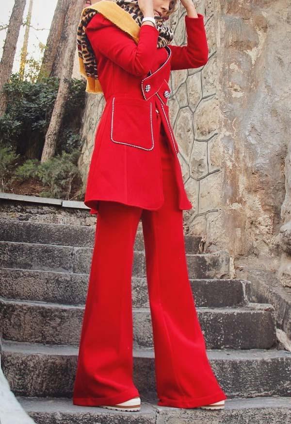 مانتو کتی و شلوار مجلسی دخترانه قرمز