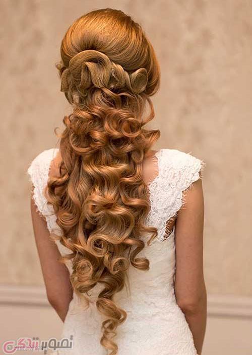 مدل شینیون مو باز و بسته عروس