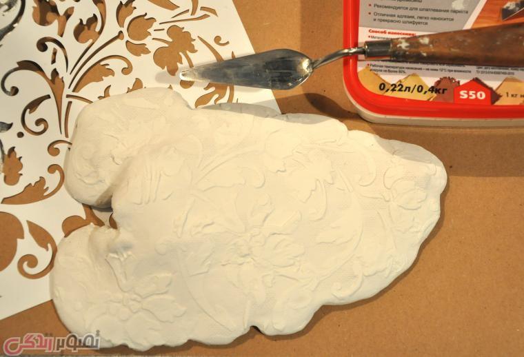 آموزش هنرهای دستی  , آموزش ساخت شیرینی خوری طرح برگ با گچ / ظرف تزیینی دست ساز