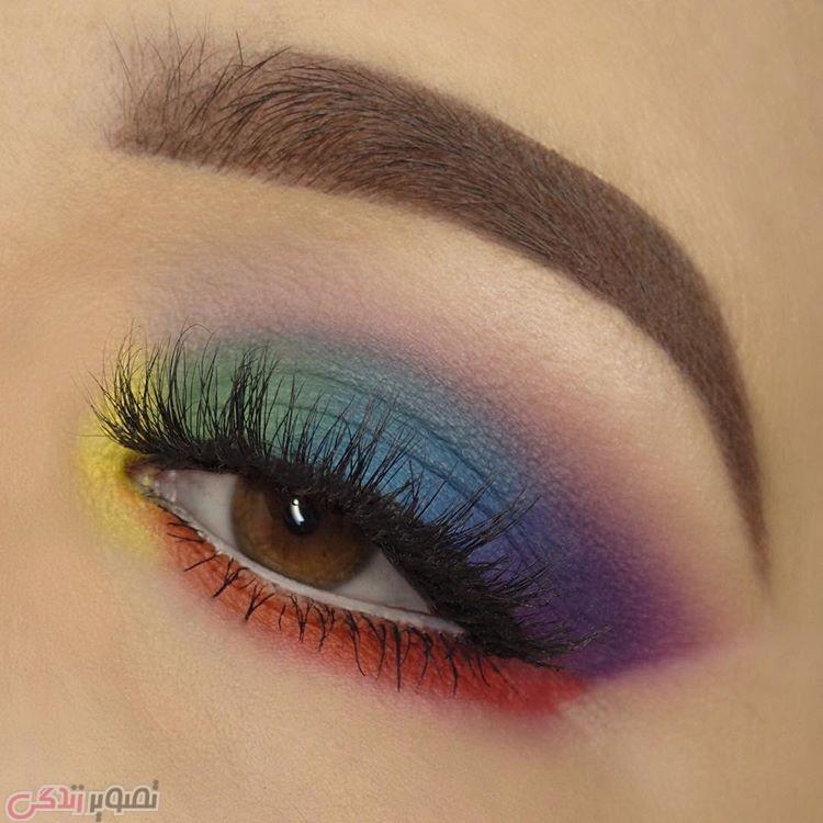 آرایش چشم های قهوه ای ,مدل سایه چشم رنگین کمانی