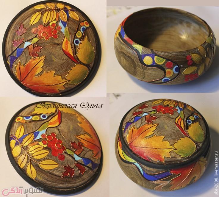 تزیین ظرف چوبی , نقاشی روی چوب