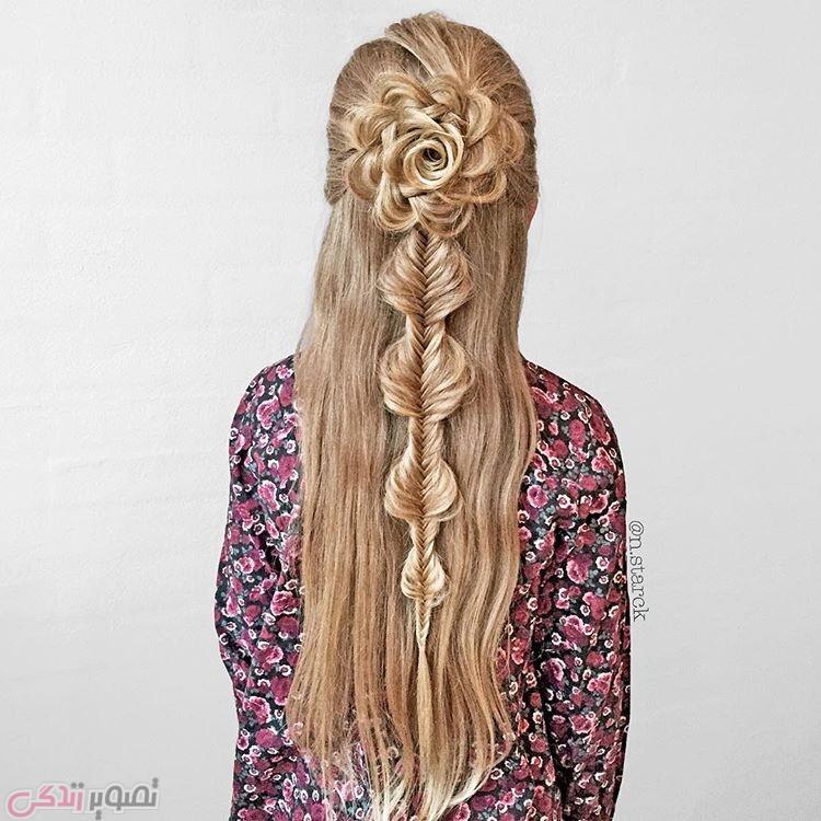 مدل و آرایش مو  , عکس بافت و شینیون مو مدل گل و پاپیون | بافت موی مجلسی | مدل موی دخترانه