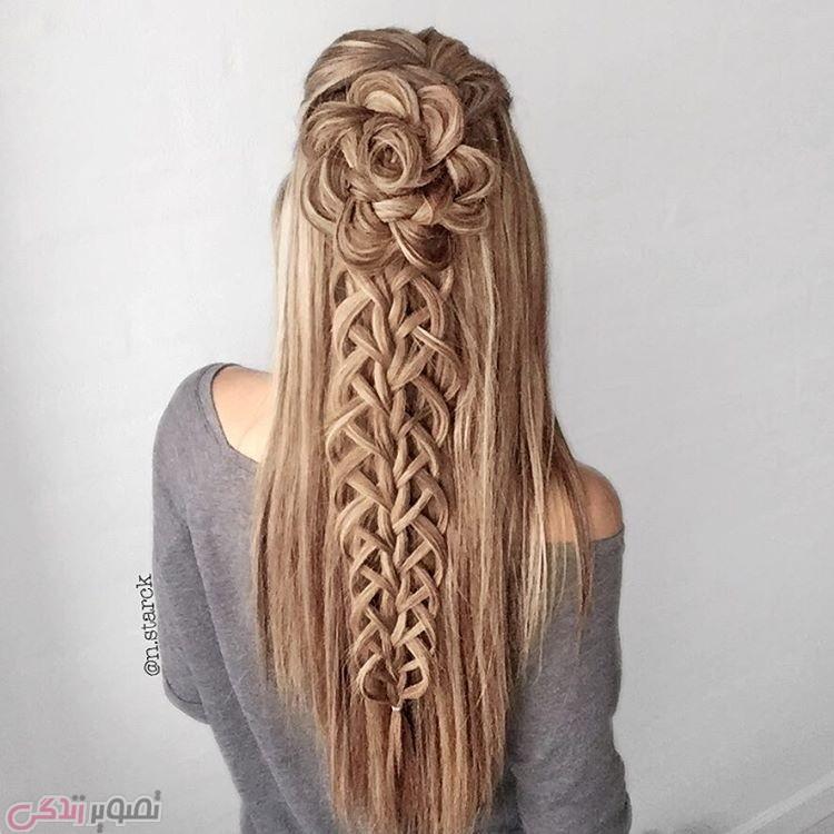 مدل بافت موی بلند, شینیون مو به شکل گل