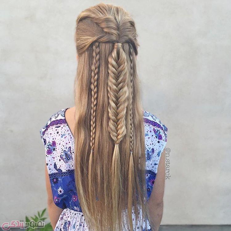 مدل بافت موی بلند دخترانه