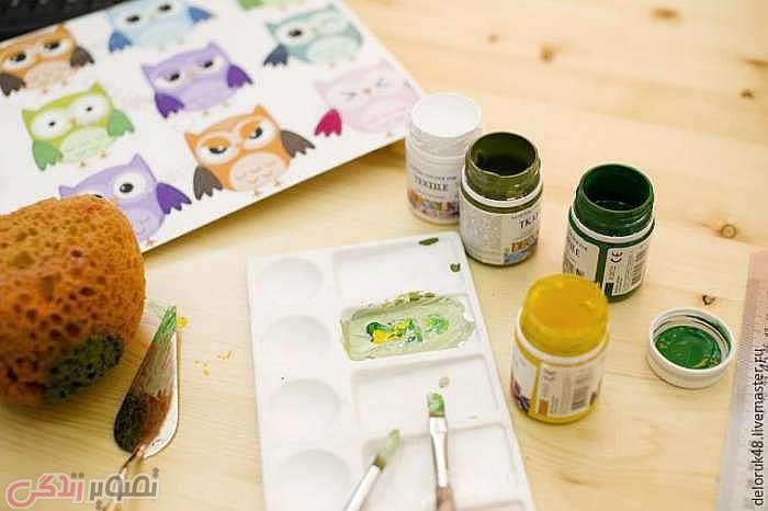 آموزش هنرهای دستی  , آموزش نقاشی روی کوسن | آموزش نقاشی جغد