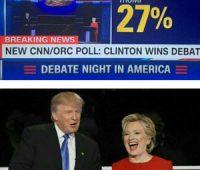کلینتون در مناظر با ترامپ پیروز شد