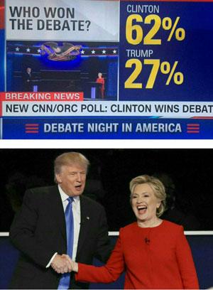 کلینتون در مناظره با ترامپ پیروز شد