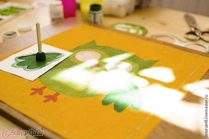 آموزش نقاشی جغد روی کوسن, نقاشی روی پارچه