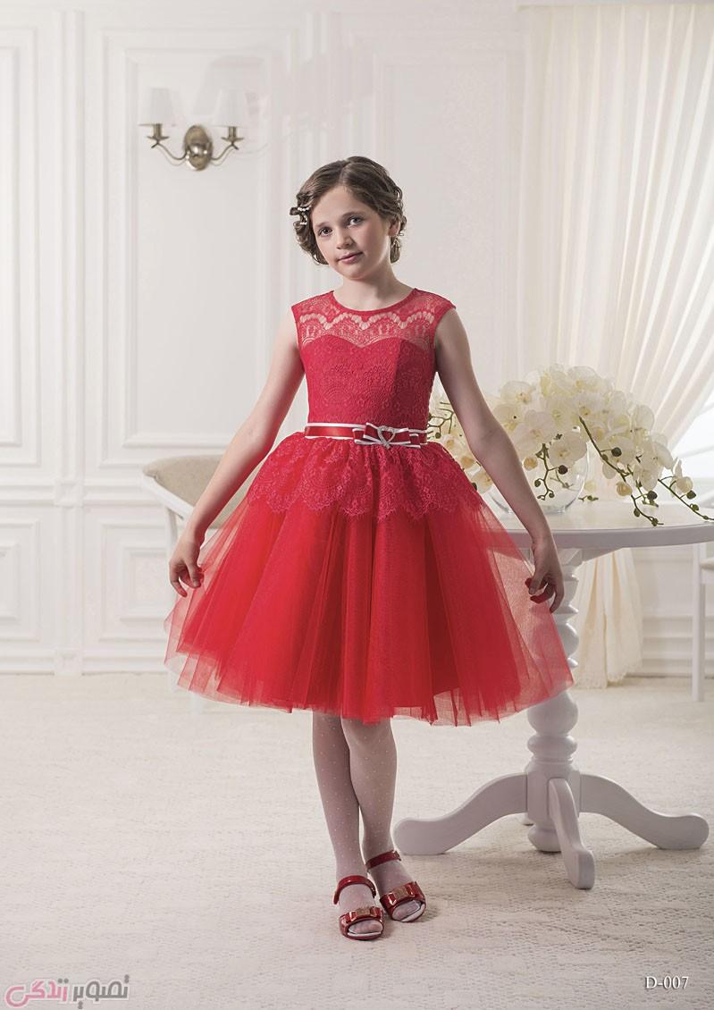 لباس مجلسی بچه گانه, پیراهن حریر قرمز دخترانه