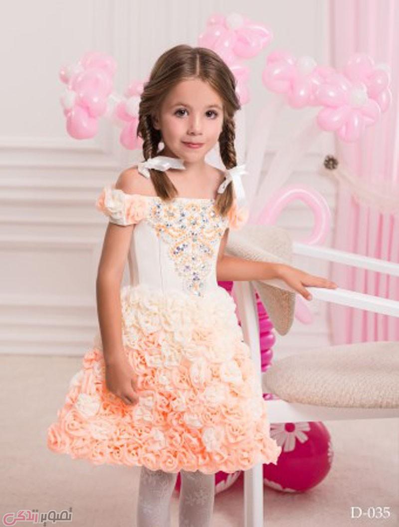 لباس مجلسی بچه گانه دخترانه, پیراهن با گل های برجسته