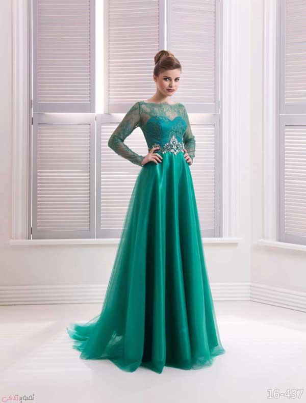 مدل لباس مجلسی بلند پیله دار جدیدترین مدل لباس شب پوشیده | مدل لباس مجلسی آستین دار ...