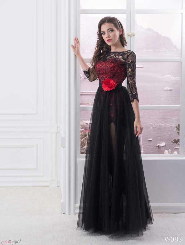 مدل لباس شب پوشیده , پیراهن گیپور مجلسی