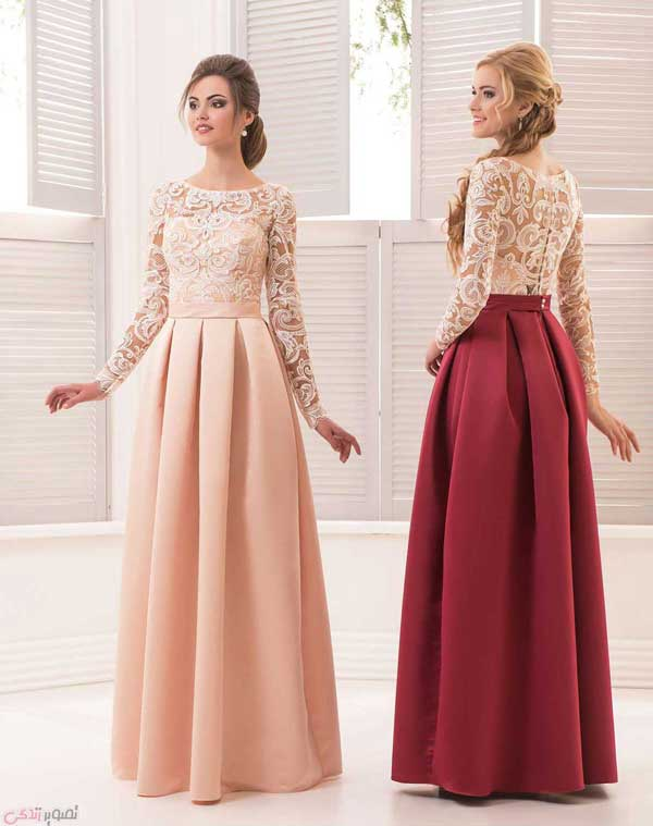 مدل لباس مجلسی پوشیده | مدل لباس شب آستین دار | پیراهن .