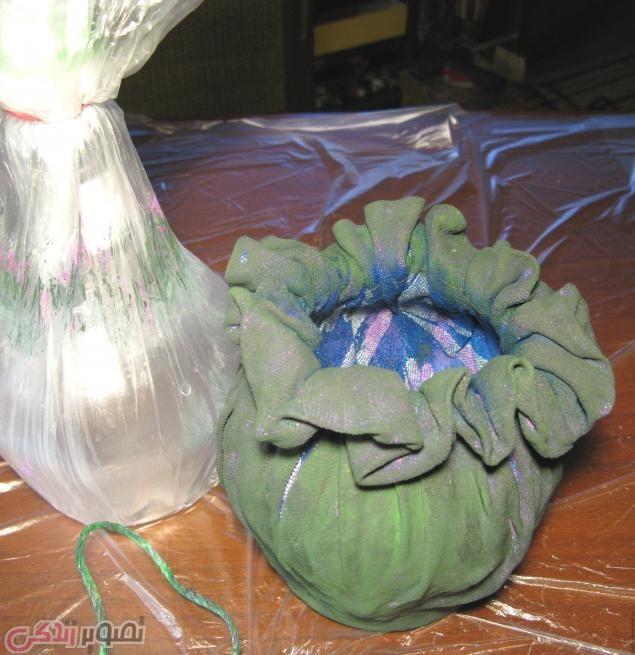 آموزش ساخت گلدان پارچه ای
