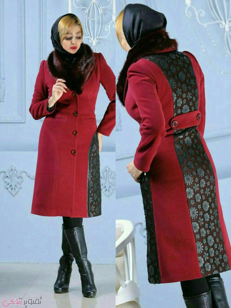 جدیدترین مدل پالتو دخترانه, پالتو مخمل قرمز