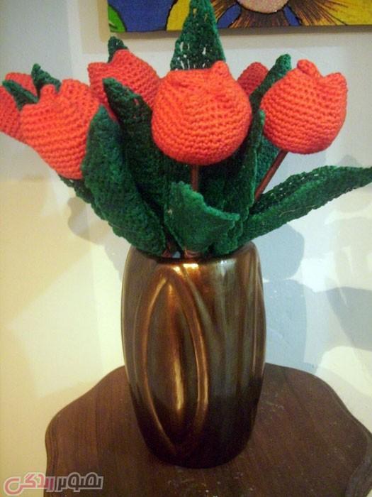 آموزش بافتنی  , آموزش بافت گل لاله سه بعدی با قلاب + فیلم | آموزش قلاب بافی