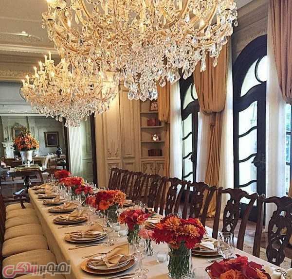 سالن غذا خوری کاخ حیاط کاخ شوهر میلیاردر عرب شیوا صفایی مدلینگ ایرانی بنام محمد حدید