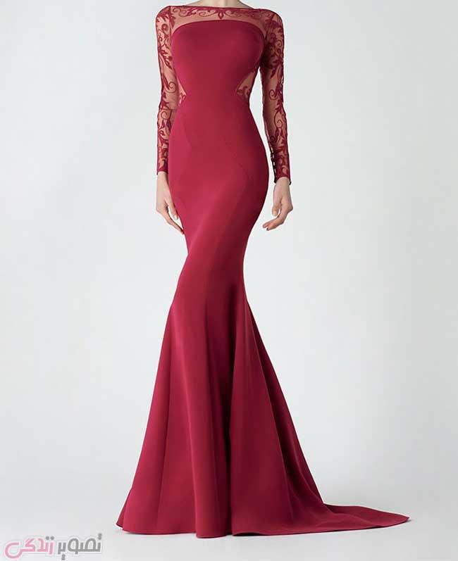 لباس مجلسی آستین بلند , مدل لباس شب