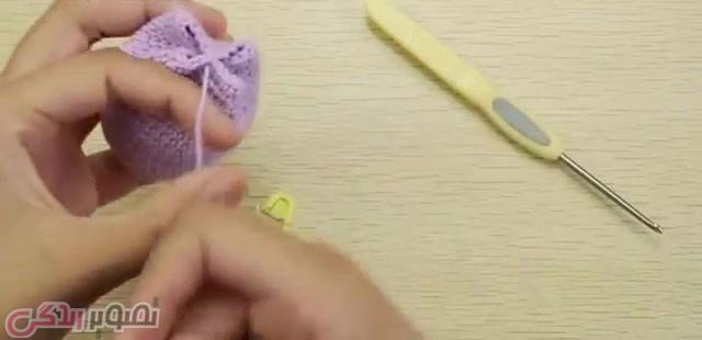 آموزش بافت گل لاله سه بعدی,آموزش قلاب بافی