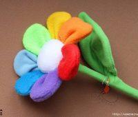 آموزش دوخت گل پارچه ای,گل رنگین کمانی