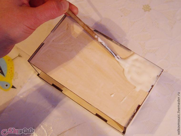 آموزش معرق کاشی , تزیین جعبه چوبی