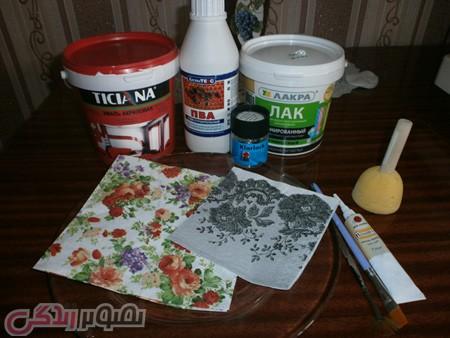 آموزش دکوپاژ بشقاب شیشه ای با دستمال کاغذی