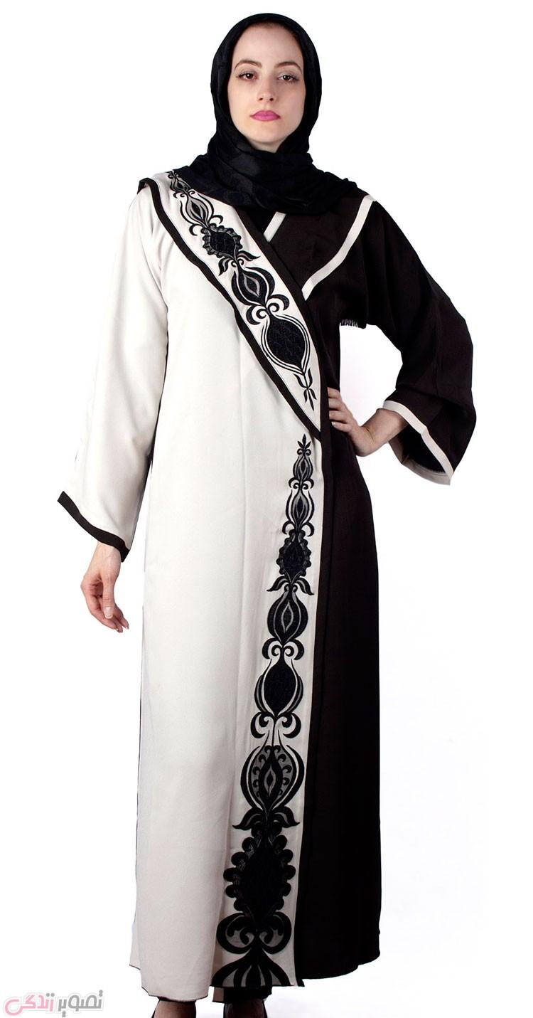 مدل مانتو عبایی مجلسی,مانتو سفید و مشکی,مانتو کیمونو