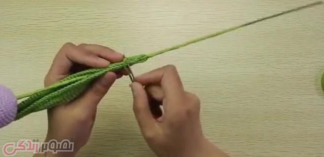 درست کردن شاخه گل لاله قلاب بافی