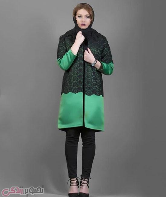 مانتو زنانه ه دو چشم MA02111: سبز زیتونی طرح دار.