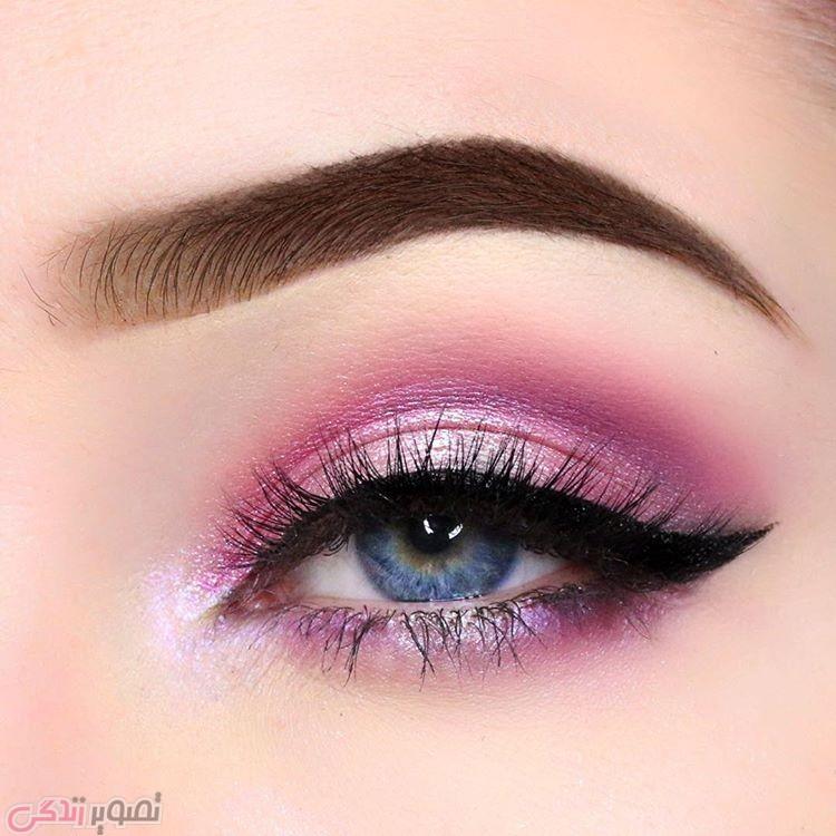 مدل ابرو,مدل آرایش چشم دخترانه , سایه صورتی