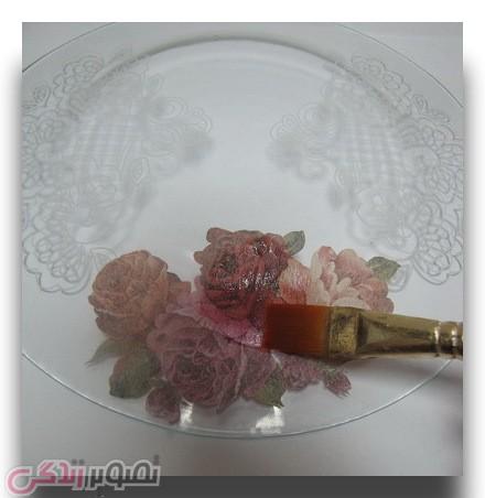 آموزش دکوپاژ  , آموزش نقاشی نما گیپور روی ظرف شیشه ای | تزیین ظرف با نقاشی نقطه ای | آموزش دکوپاژ