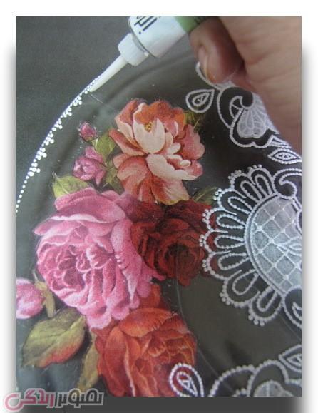 آموزش نقاشی نما گیپور,تزیین ظرف بلور ,نقطه کوبی,آموزش دکوپاژ