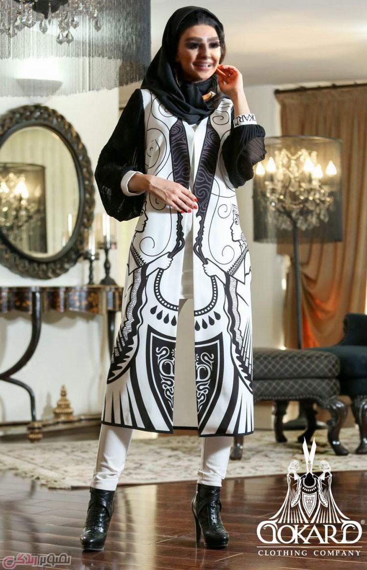 مدل مانتو مجلسی , مانتو بلند سفید و مشکی