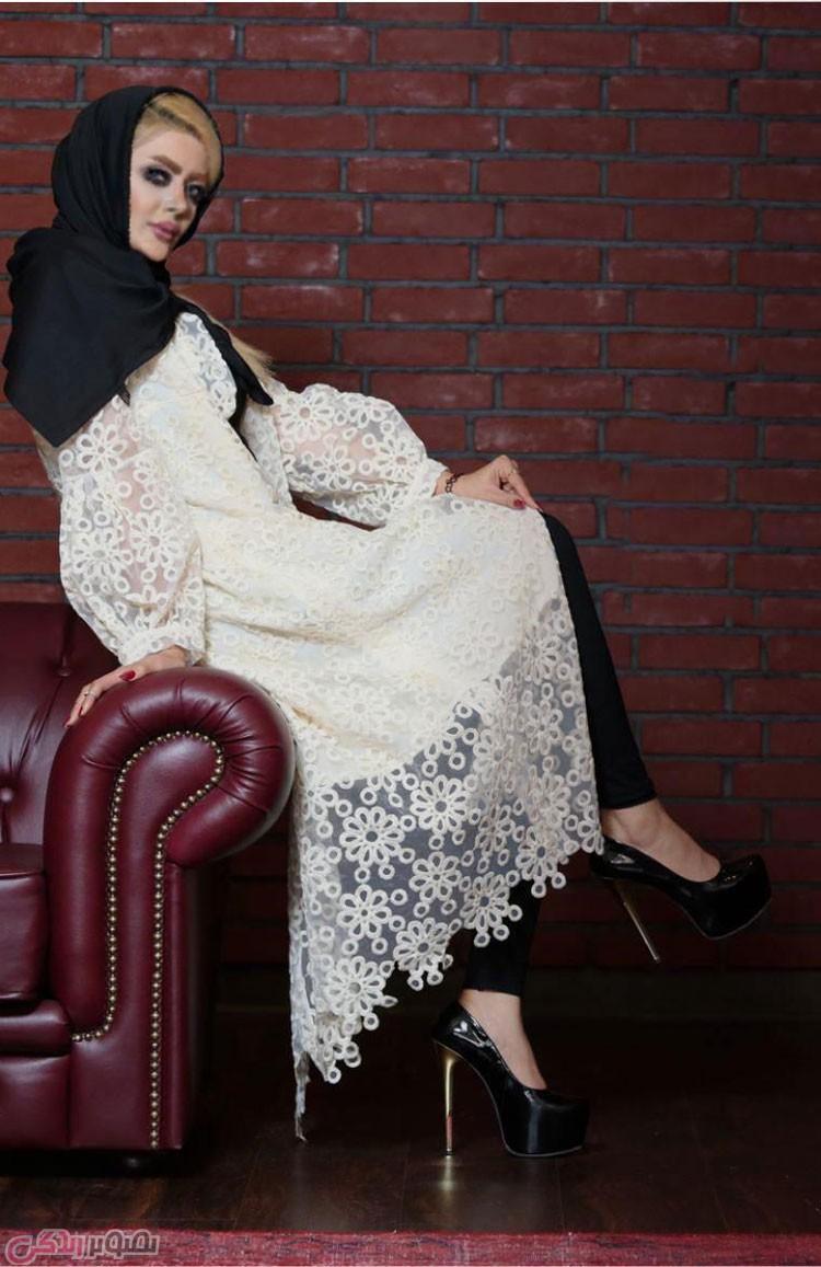 مدل مانتو مجلسی , مانتو بلند گیپور شیری رنگ
