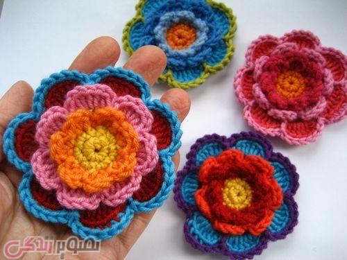 آموزش بافت گل با قلاب,گل قلاب بافی, موتیف گل