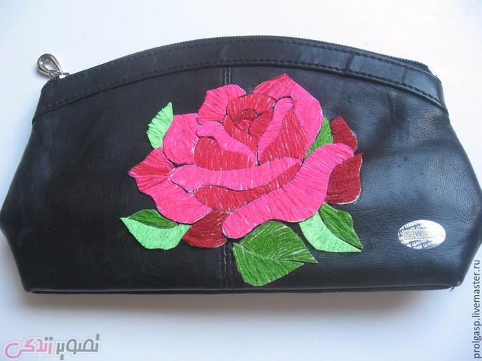 نما گلدوزی , تزیین کیف چرم