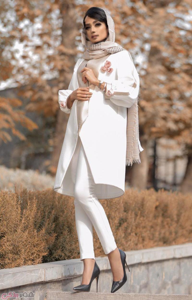 مدل مانتو تابستانی سفید و شیک با گل های تزیینی برجسته