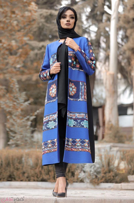 عکس مانتو جلو باز کاربنی رنگ با طرح سنتی