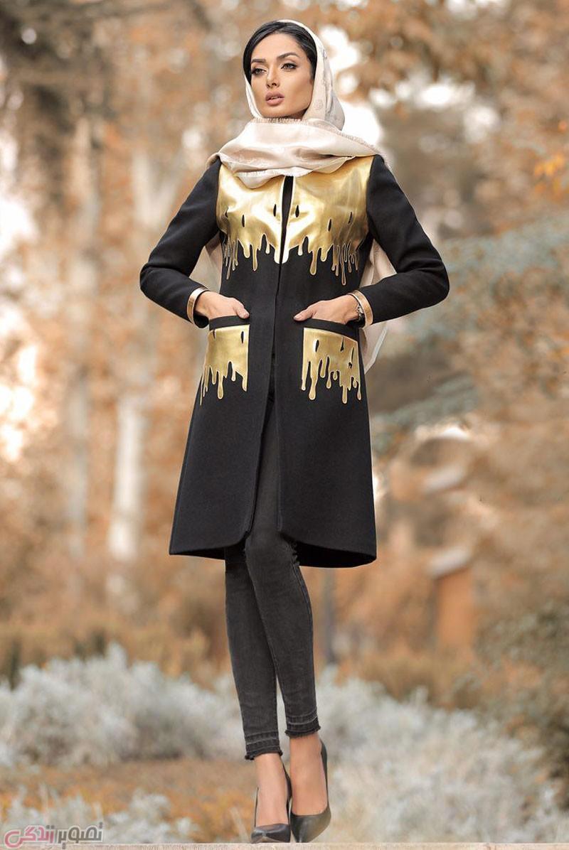 مانتو مجلسی مشکی با طراح مدرن و شیک طلایی رنگ